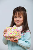 Cute girl opening gift box Royalty Free Stock Photo
