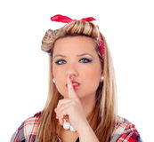 Cute girl ordering silence in pinup style Stock Photo