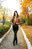 Cute girl outdoor autumn Royalty Free Stock Photo