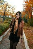 Cute girl outdoor autumn Royalty Free Stock Photography