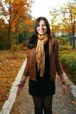 Cute girl outdoor autumn Royalty Free Stock Images