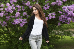 Cute girl in outside fashion shoot Royalty Free Stock Photo
