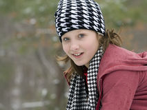 Cute girl outside in the winter snow Royalty Free Stock Images