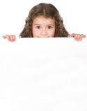 Cute girl over blank board Stock Photos