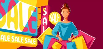 Cute girl with packages on sale. Shopping illustration of young woman character Royalty Free Illustration