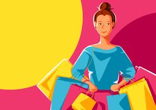 Cute girl with packages. Shopping illustration of young woman character Stock Illustration