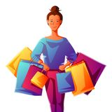 Cute girl with packages. Shopping illustration of young woman character Vector Illustration
