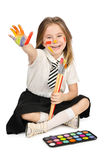Cute girl with paint Stock Images