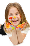 Cute girl with paint Royalty Free Stock Photography