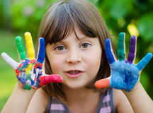 Cute Girl With Painted Hands Stock Photos