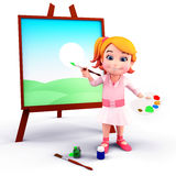 Cute girl with painting board and colors Stock Photos