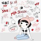 Cute Girl Painting Mid Season Sale Discounts Icon Stock Photo