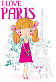 Cute girl in paris with her dog. Fashion style new trend Royalty Free Stock Photography