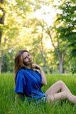 Cute Girl in Park Stock Image
