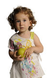 Cute girl with pear isolated on white royalty free stock images