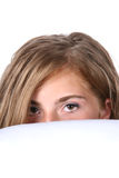 Cute girl peeking Royalty Free Stock Photos