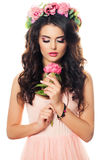 Cute Girl with Peony Flower Royalty Free Stock Image