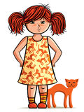 Cute girl with pet cat. Cartoon illustration of cute cheeky girl with red hair in pigtails with freckles and pet cat; studio background Stock Images