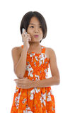 Cute girl on the phone Royalty Free Stock Photo