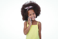 Cute girl on a phone call Stock Images