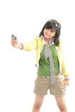 Cute girl photograph her self. With camera phone Royalty Free Stock Photos