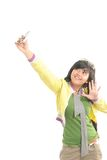 Cute girl photograph her self. With camera phone Stock Photography