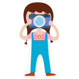 Cute girl photographer character Royalty Free Stock Image