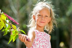 Cute girl picking wild berries. Close up portrait of cute girl picking wild berries in forest Royalty Free Stock Photography