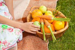 Cute girl at picnic with basket of fruits and vegetables Stock Images