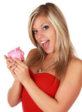 Cute girl and piggy bank Royalty Free Stock Images