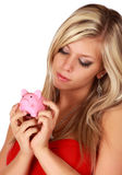 Cute girl and piggy bank Stock Photo