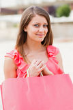 Cute Girl with Pink Bag Royalty Free Stock Photo