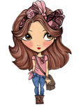 Cute girl with pink bow  t-shirt print Royalty Free Stock Images