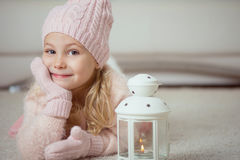 Cute girl in pink celebrating Christmas Royalty Free Stock Photos