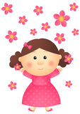 Cute girl with pink flowers. Isolated on white Stock Photo