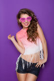 Cute girl in pink glasses Stock Images