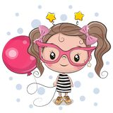 Cute Girl with pink glasses. Cute Cartoon Girl with pink glasses and balloon stock illustration