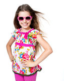Cute girl with pink sunglasses Royalty Free Stock Images