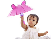Cute girl with pink umbrella Royalty Free Stock Photos