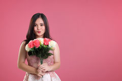 Cute girl on pink Valentine background Royalty Free Stock Photos