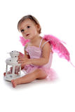 Cute girl with pink wings Royalty Free Stock Photos