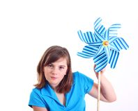 Cute girl with pinwheel Royalty Free Stock Image
