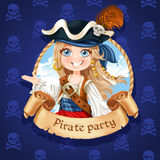 Cute girl pirate. Banner for Pirate party Stock Photos