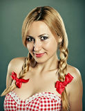 Cute girl with plaits Stock Images