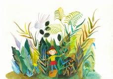 Cute girl plant watercolor hand drawn illustration stock illustration