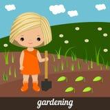 Cute girl planting plants. Gardening royalty free illustration