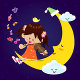 Cute Girl play music with moon at night Royalty Free Stock Photo
