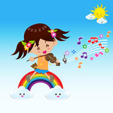 Cute Girl play music with Sun Rainbow and Cloud Stock Photo