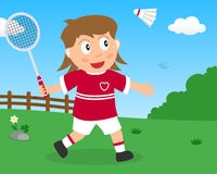 Cute Girl Playing Badminton in the Park Stock Images
