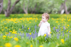 Cute girl playing in a beautiful garden Royalty Free Stock Image
